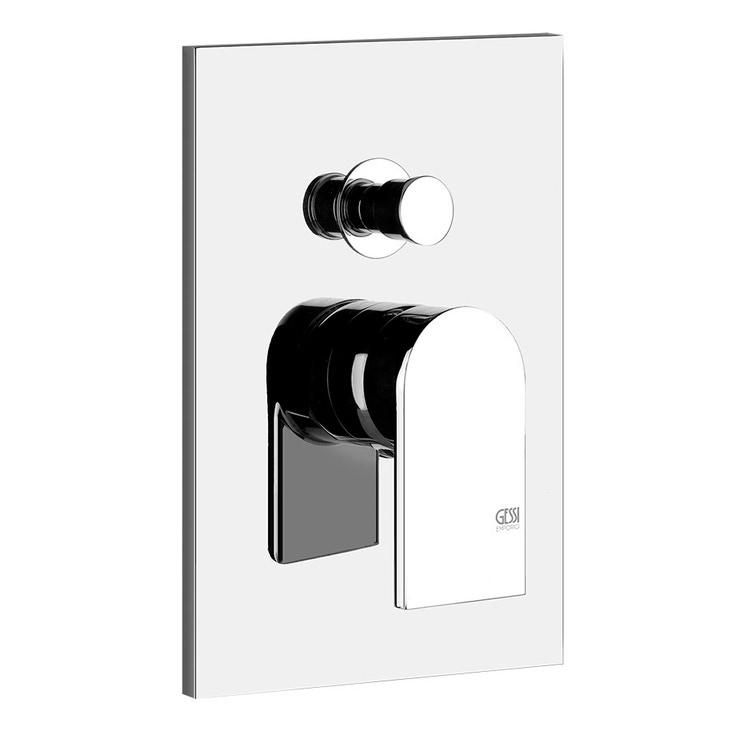 Gessi VIA MANZONI miscelatore a parete, 2 uscite, con deviatore automatico bagno/doccia, finitura finox brushed nickel 44634#149