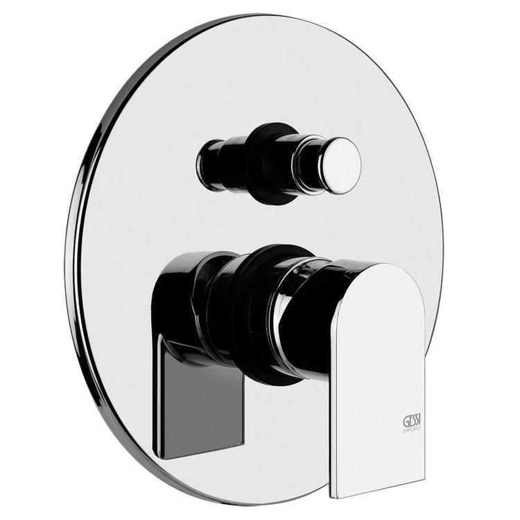Gessi VIA MANZONI miscelatore a parete, 2 uscite, con deviatore automatico bagno/doccia, finitura finox brushed nickel 38656#149