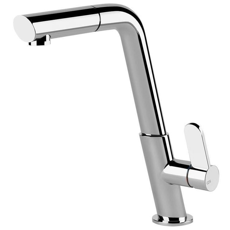 Gessi INCLINE miscelatore monocomando, con canna girevole e doccetta estraibile, per lavello, finitura cromo 50007#031