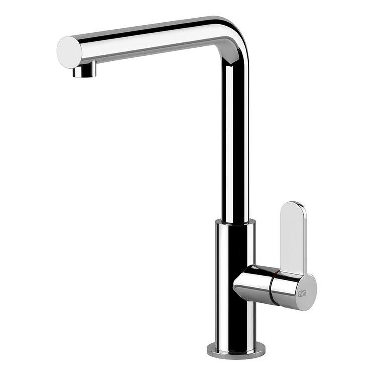 Gessi HELIUM miscelatore monocomando con canna girevole, per lavello, finitura nero opaco / cromo 50105#399