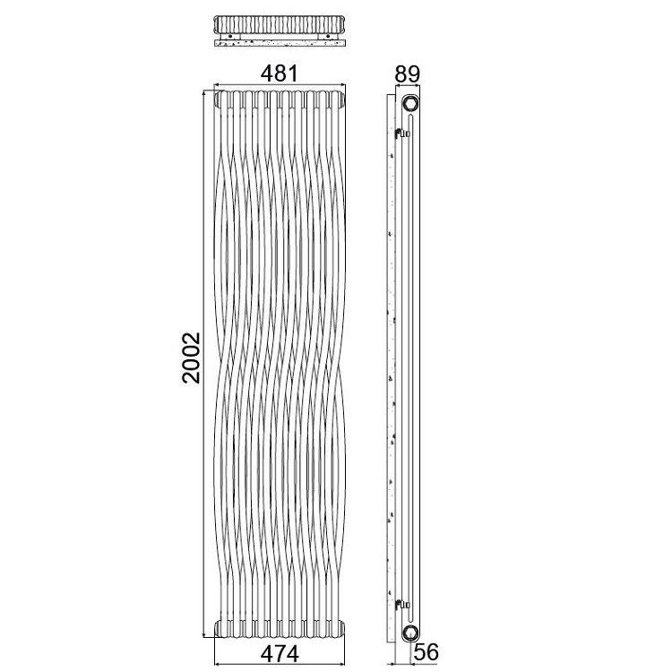 Irsap TESI JOIN radiatore 10 elementi, H.200,2 L.48,1P.6,5 cm, colore bianco finitura opaco RJ2200010J8IR02N02