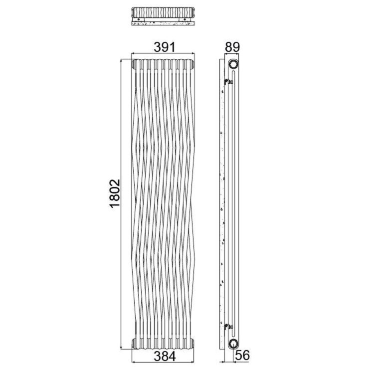 Irsap TESI JOIN radiatore 8 elementi, H.180,2 L.39,1 P.6,5 cm, colore bianco finitura opaco RJ2180008J8IR02N02