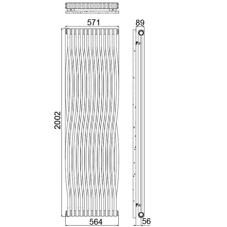 Irsap TESI JOIN radiatore 12 elementi, H.200,2 L.57,1P.6,5 cm, colore bianco finitura opaco RJ2200012J8IR02N02