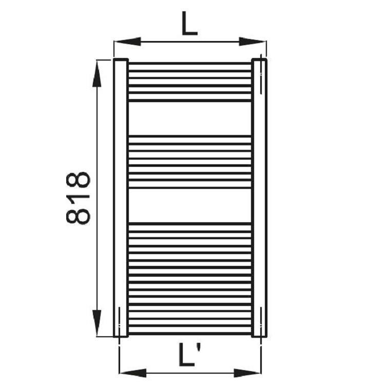 Irsap ARES scaldasalviette 15 tubi 2 intervalli H.81,8 L.38 P.3 cm, bianco standard EIS038B01IR01NNN