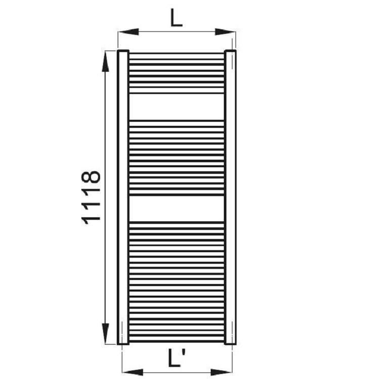 Irsap ARES scaldasalviette 22 tubi 2 intervalli H.111,8 L.38 P.3 cm, bianco standard EIM038B01IR01NNN