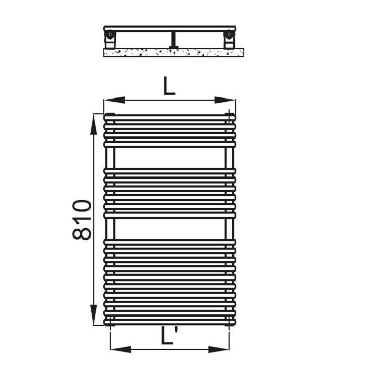 Irsap FLAUTO scaldasalviette, 20 tubi, 2 intervalli, H.81 L.45,6 P.4,6 cm, colore quartz 2 finitura ruvido FTP045B2CIR01NNN