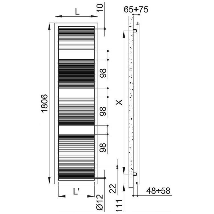 Irsap LIKE scaldasalviette, 65 tubi, 3 intervalli, 180,6x63,2x3,5 cm, bianco standard FCE063B01IR01NNN02