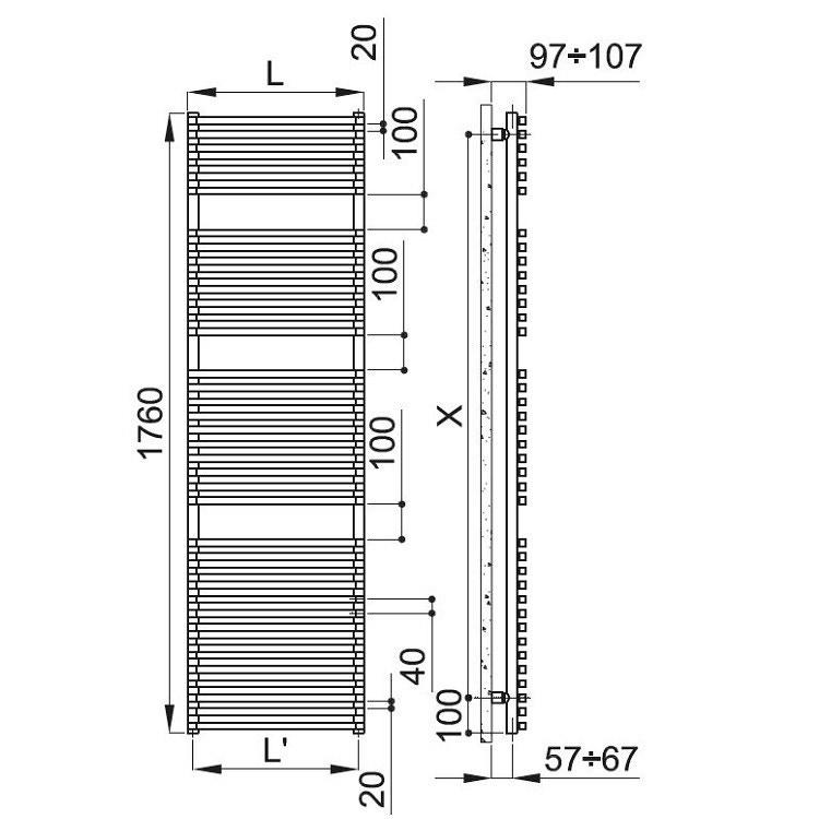Irsap NET scaldasalviette, 38 tubi, 3 intervalli, 176x60x6,7cm, bianco standard NTE060B01IR01NNN03