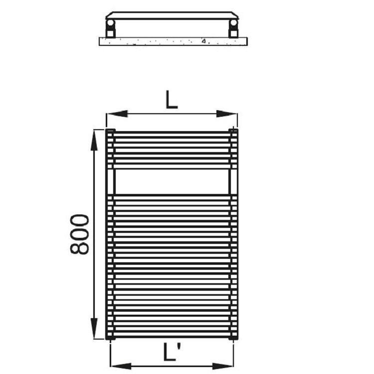 Irsap NET scaldasalviette, 18 tubi, 1 intervallo, 80x50x6,7cm, bianco standard NTS050B01IR01NNN03