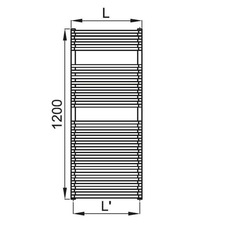 Irsap NET scaldasalviette, 26 tubi, 2 intervalli, 120x50x6,7cm, bianco standard NTM050B01IR01NNN03