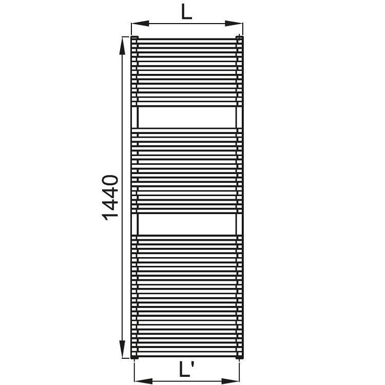 Irsap NET scaldasalviette, 32 tubi, 2 intervalli, 144x50x6,7cm, bianco standard NTL050B01IR01NNN03