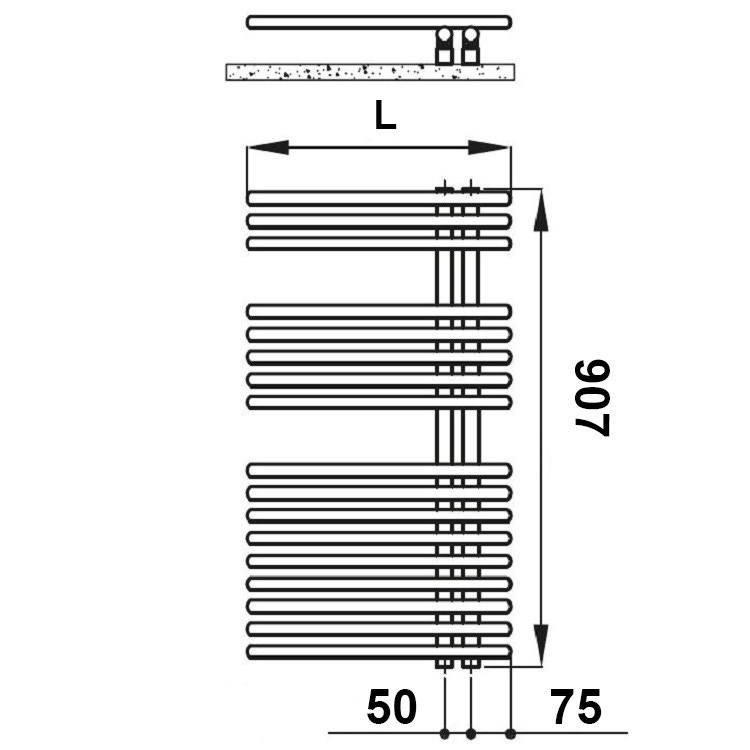 Irsap FUNKY scaldasalviette, 17 tubi, 2 intervalli, H.90,7 L.50 P.6,2 cm, attacco destro, colore sunstone finitura ruvido FRS050B2DIR01NNN01