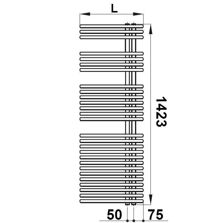 Irsap FUNKY scaldasalviette, 27 tubi, 3 intervalli, H.142,3 L.60 P.6,2 cm, attacco destro, colore nero grafite finitura ruvido FRL060B18IR01NNN01