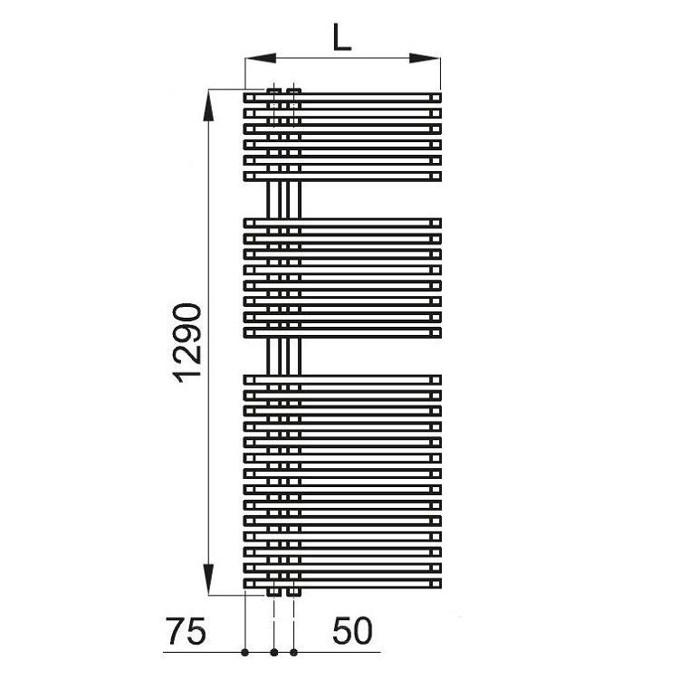 Irsap JAZZ scaldasalviette attacco sinistro 28 tubi 2 intervalli H.129 L.50 P.6,7 cm, colore GRIGIO martellato finitura RUVIDO JLM050B32IR01NNN