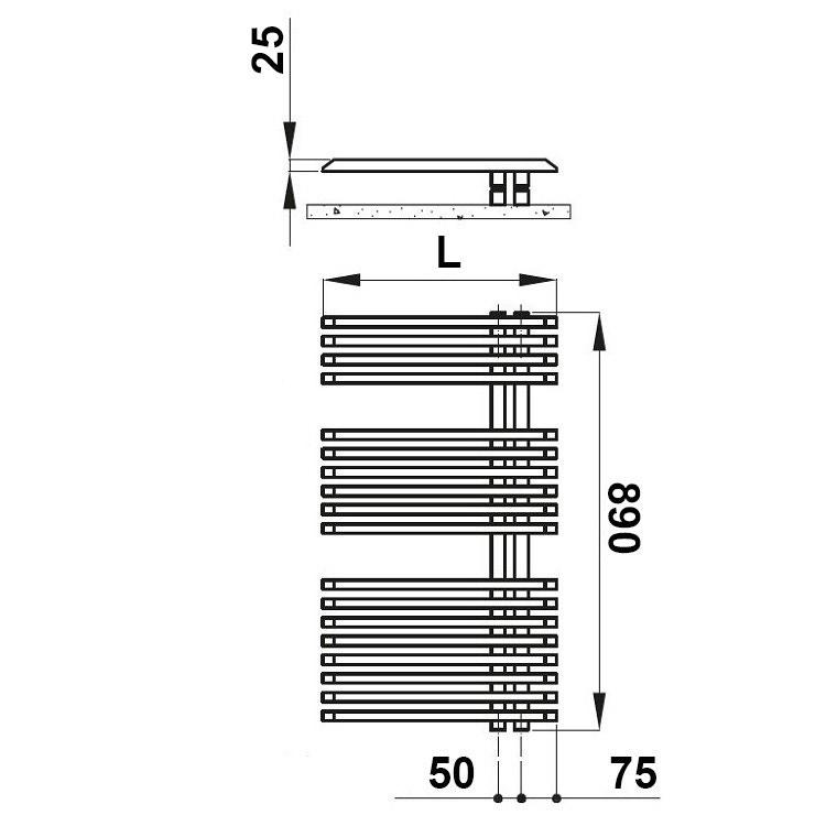 Irsap JAZZ scaldasalviette attacco destro, 18 tubi 2 intervalli H.89 L.50 P.6,7 cm, bianco standard JRS050B01IR01NNN03
