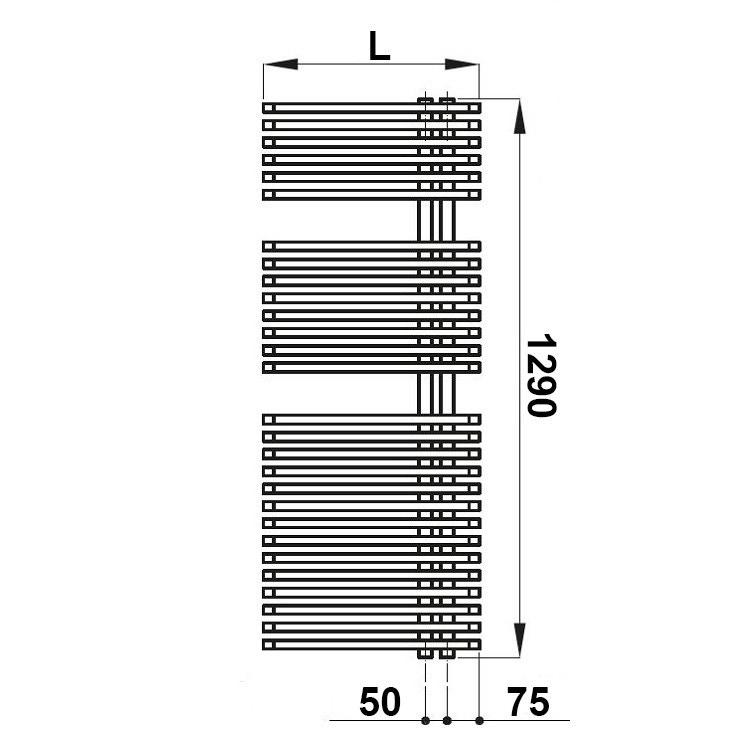 Irsap JAZZ scaldasalviette attacco destro, 28 tubi 2 intervalli H.129 L.50 P.6,7 cm, colore bianco finitura opaco JRM050BJ8IR01NNN