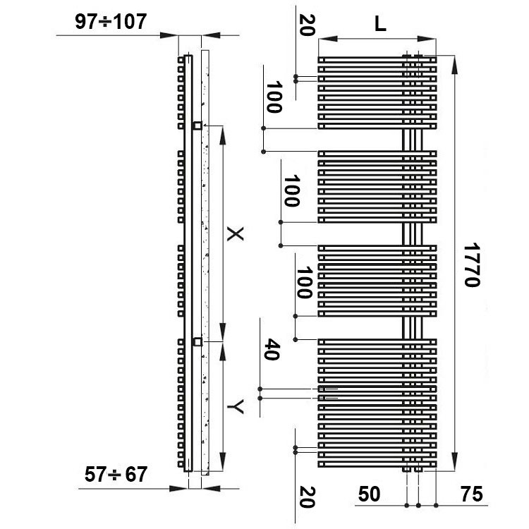 Irsap JAZZ scaldasalviette attacco destro, 38 tubi 3 intervalli H.177 L.50 P.6,7 cm, bianco standard JRG050B01IR01NNN01
