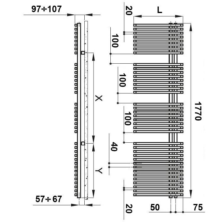Irsap JAZZ scaldasalviette attacco destro, 38 tubi 3 intervalli H.177 L.60 P.6,7 cm, bianco standard JRG060B01IR01NNN03