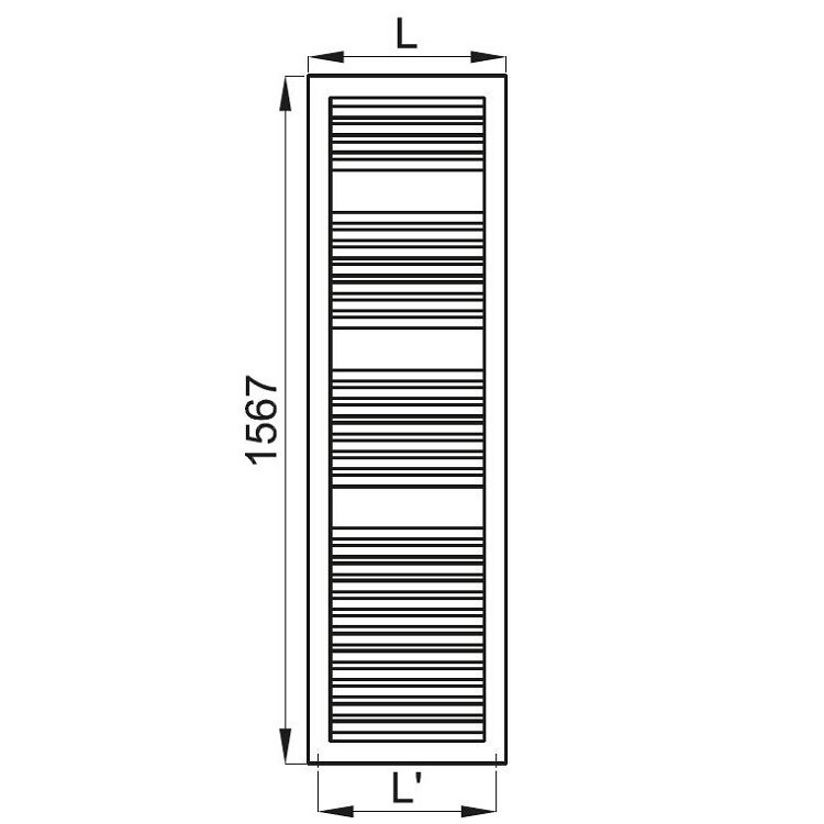 Irsap NOVO CULT scaldasalviette, 30 tubi, 3 intervalli, 156,7x60x4,9 cm, bianco standard NSL060B01IR01NNN03