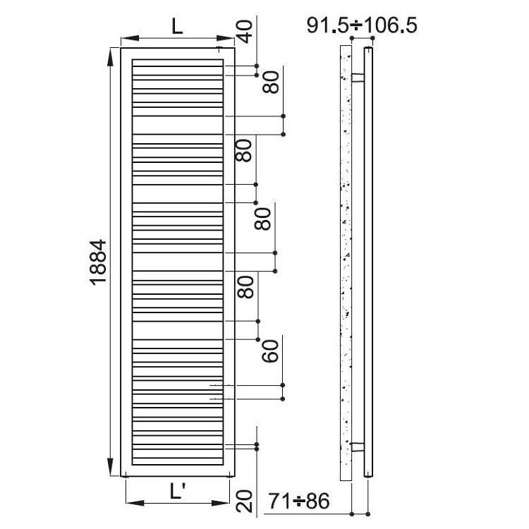 Irsap ODDO scaldasalviette, 25 tubi, 3 intervalli, 188,4x45x3,65cm, bianco standard LEE045B01IR01NNN01