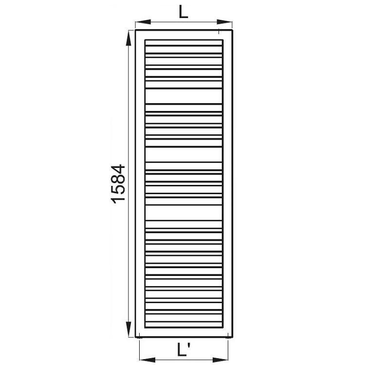 Irsap ODDO scaldasalviette, 21 tubi, 3 intervalli, H.158,4 L.50 P.3,65cm attacchi centrali 50mm, colore bianco standard LEL050B01IR05NNN02