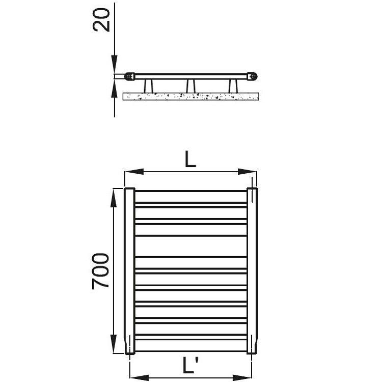 Irsap VELA scaldasalviette, 9 tubi, 1 intervallo, 70x46x3 cm, bianco standard VES046B01IR01NNN01