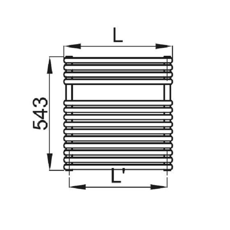 Irsap RIGO scaldasalviette, 14 tubi, 1 intervallo, 54,3x52x5cm, bianco standard RIP052B01IR01NNN02