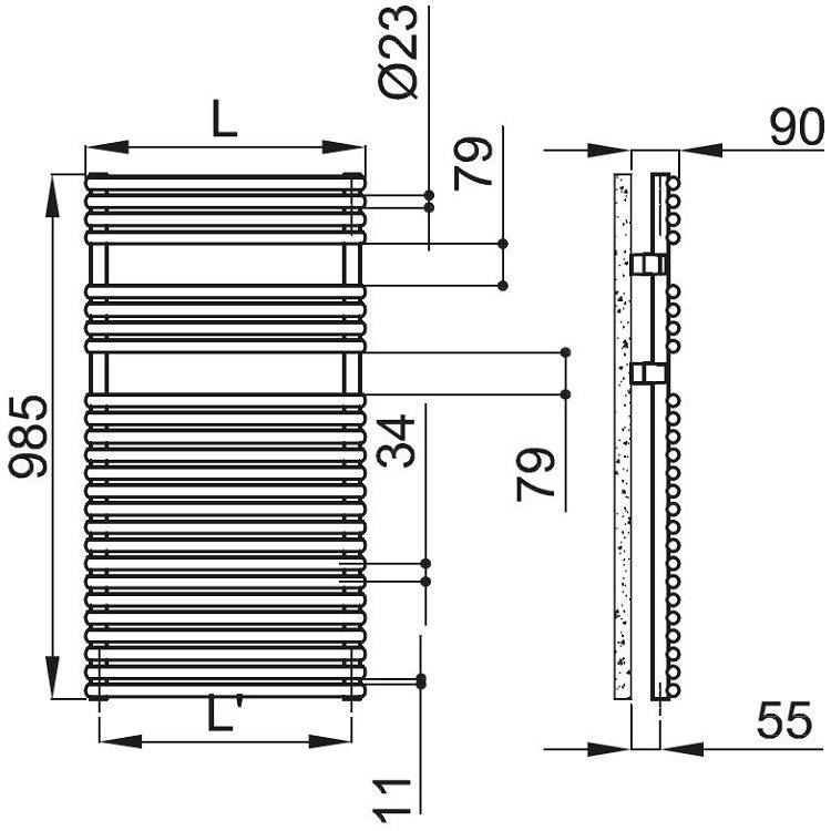 Irsap RIGO scaldasalviette, 25 tubi, 2 intervalli, 98,5x52x5cm, bianco standard RIM052B01IR01NNN01