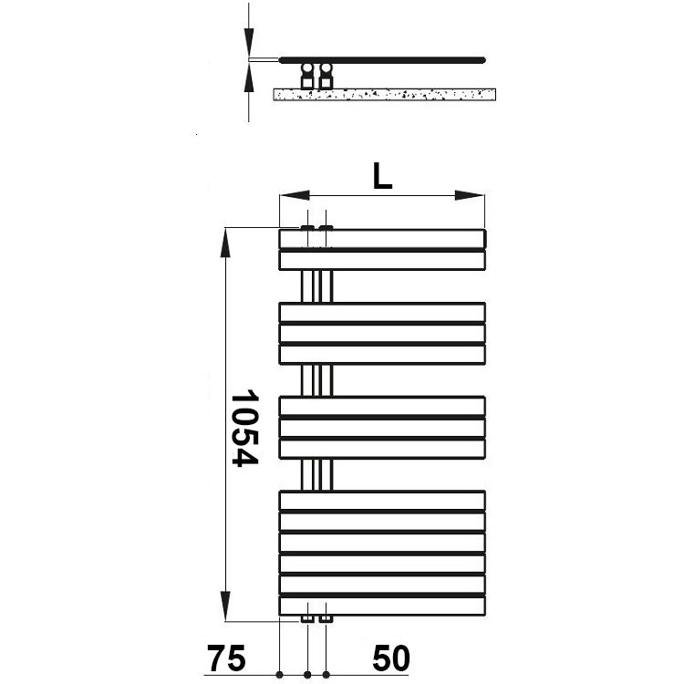Irsap SOUL scaldasalviette, 14 tubi, 3 intervalli, H.105,4 L.55 P.5 cm, attacco sinistro, bianco standard SNM055B01IR01NNN02