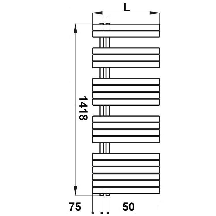Irsap SOUL scaldasalviette, 19 tubi, 4 intervalli, H.141,8 L.55 P.5 cm, attacco sinistro, bianco standard SNL055B01IR01NNN03