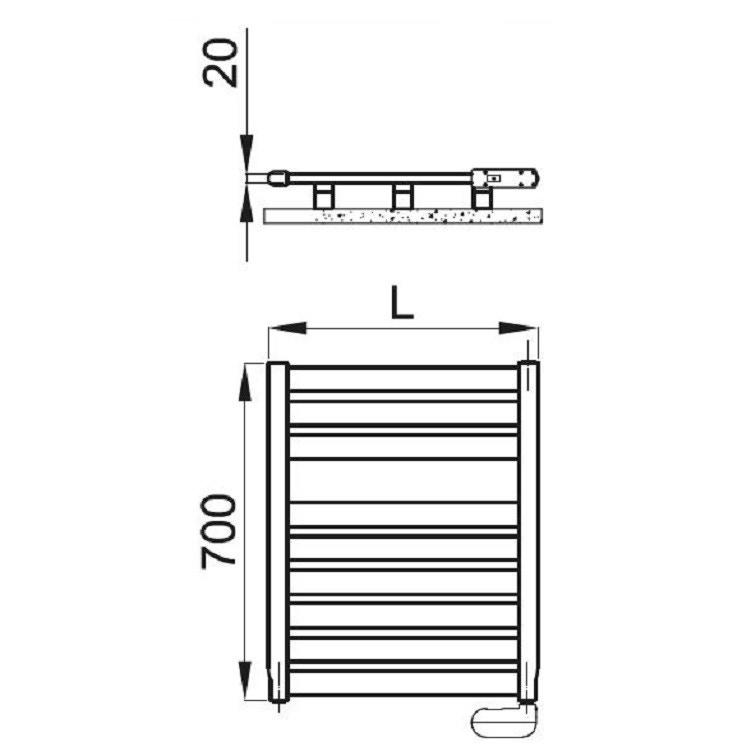 Irsap VELA ELETTRICO scaldasalviette, 9 tubi, 1 intervallo, 70x56x3 cm, bianco standard, con controllo elettronico VES056H01IR01NNN01