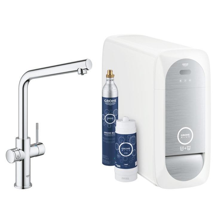 Grohe BLUE HOME sistema completo rubinetto bocca a L e refrigeratore con sistema WiFi finitura cromo 31454001