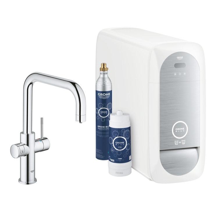 Grohe BLUE HOME sistema completo rubinetto bocca a U e refrigeratore con sistema WiFi finitura cromo 31456001