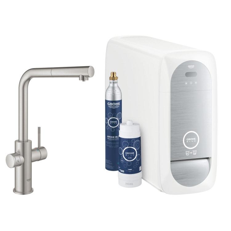 Grohe BLUE HOME sistema completo con rubinetto per lavello bocca a L con refrigeratore, WiFi e docetta estraibile finitura cromo satinato 31539DC0