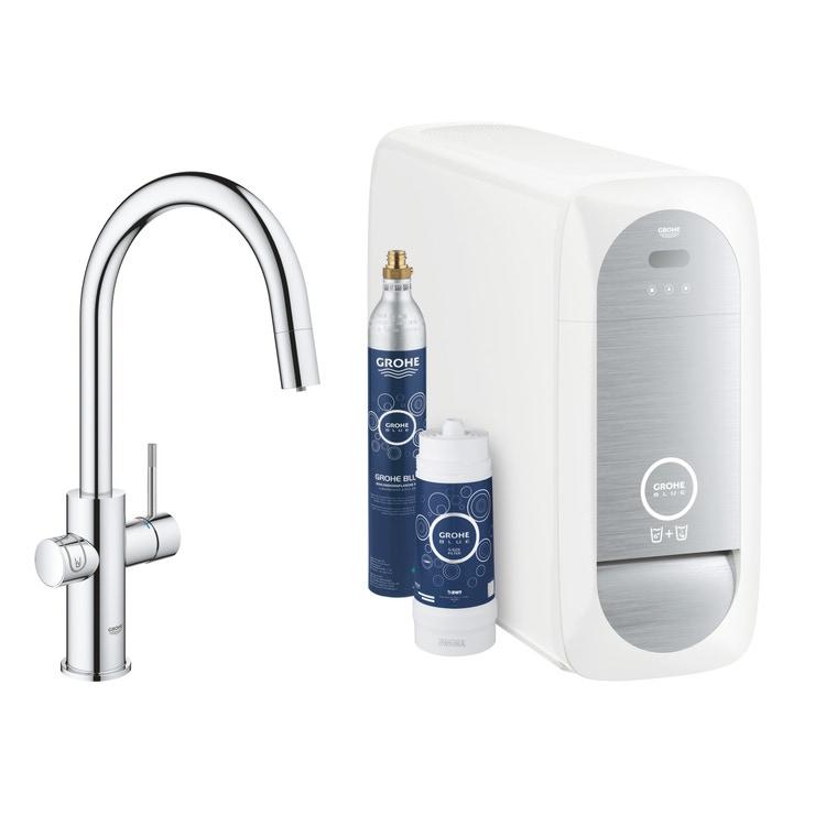Grohe BLUE HOME sistema completo con rubinetto per lavello bocca a C con refrigeratore, WiFi e doccetta estraibile finitura cromo 31541000