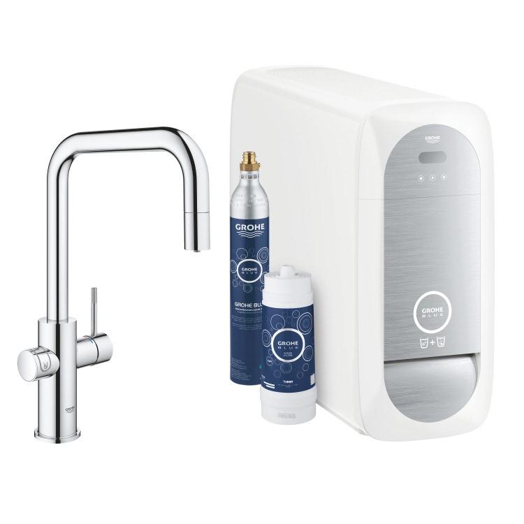 Grohe BLUE HOME sistema completo con rubinetto per lavello bocca a U con refrigeratore, WiFi e doccetta estraibile finitura cromo 31543000