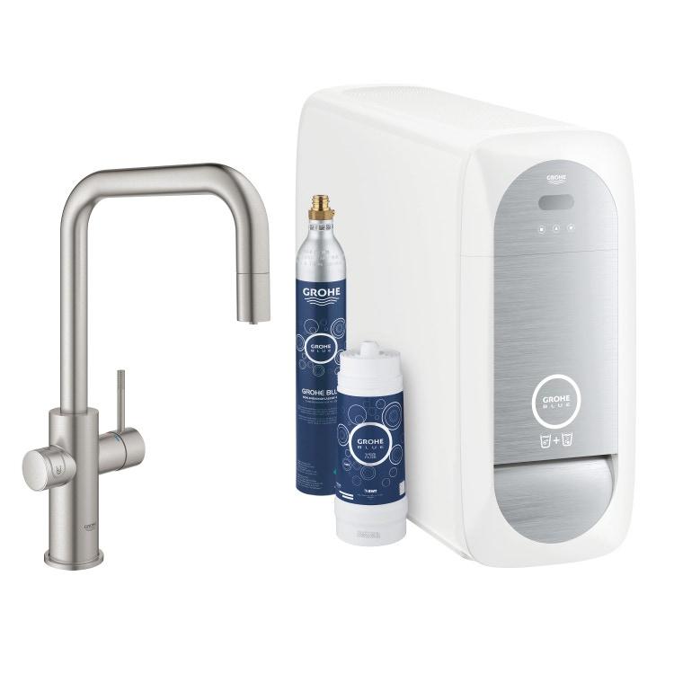 Grohe BLUE HOME sistema completo con rubinetto per lavello bocca a U con refrigeratore, WiFi e doccetta estraibile finitura cromo satinato 31543DC0