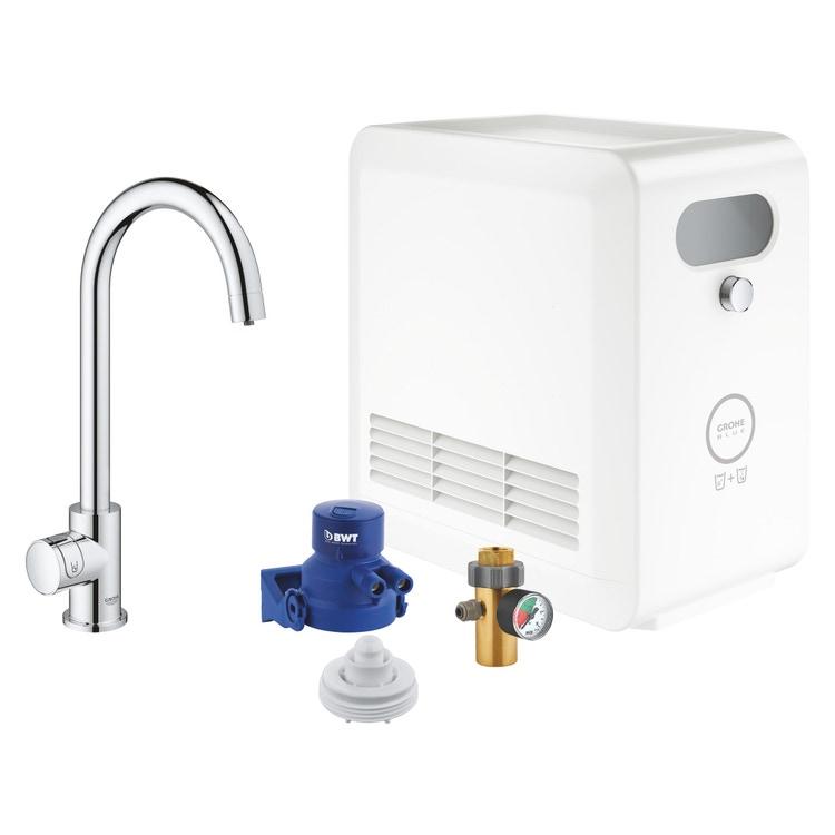 Grohe BLUE PROFESSIONAL mono rubinetto bocca a C con sistema filtrante e WiFi finitura cromo 31302002