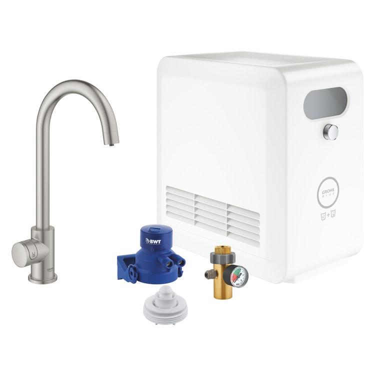 Grohe BLUE PROFESSIONAL mono rubinetto bocca a C con sistema filtrante e WiFi finitura cromo satinato 31302DC2