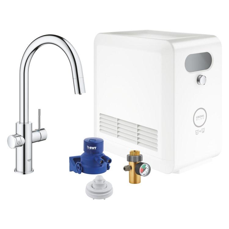 Grohe BLUE PROFESSIONAL miscelatore con bocca a C per lavello con filtrante, WiFi e doccetta estraibile finitura cromo 31325002