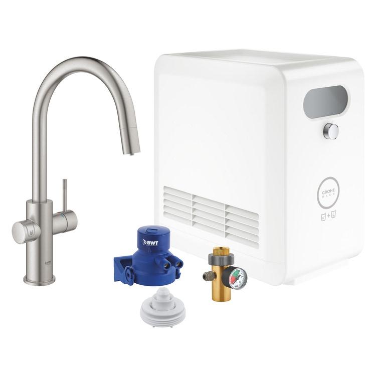 Grohe BLUE PROFESSIONAL miscelatore con bocca a C per lavello con sistema filtrante, WiFi e doccetta estraibile finitura cromo satinato 31325DC2