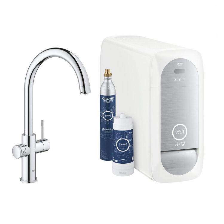 Grohe BLUE HOME sistema completo rubinetto con bocca a C e refrigeratore con sistema WiFi finitura cromo 31455001