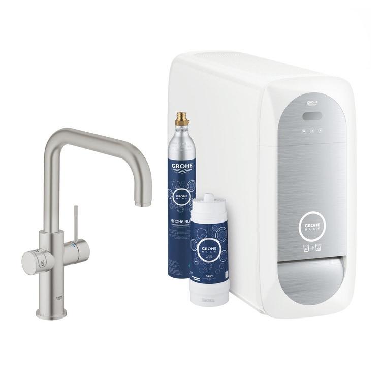 Grohe BLUE HOME sistema completo rubinetto bocca a U e refrigeratore con sistema WiFi finitura cromo satinato 31456DC1
