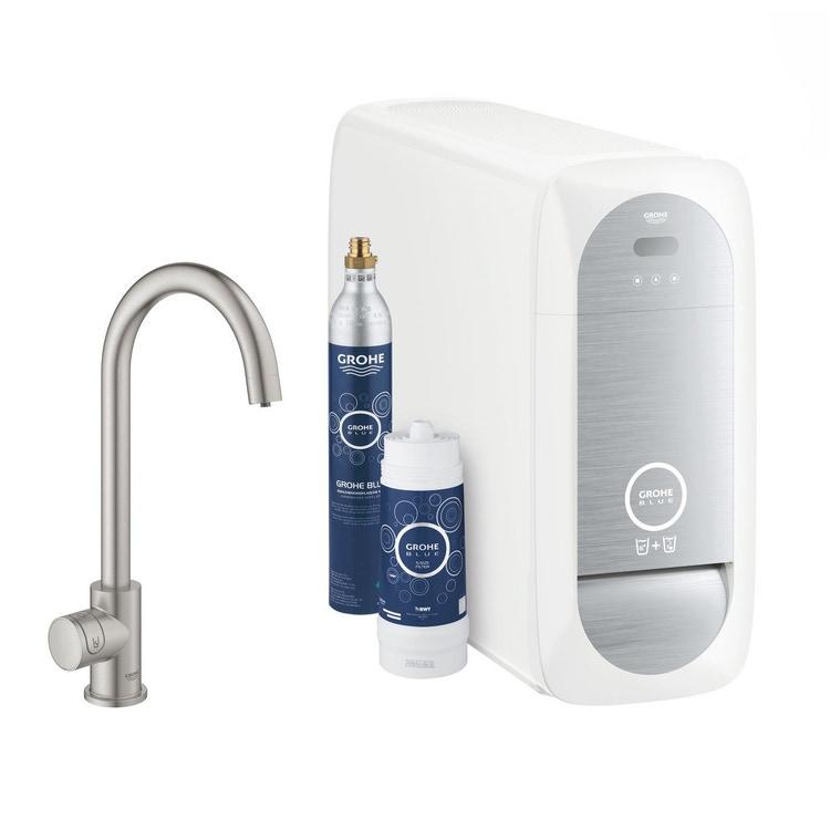 Grohe BLUE HOME sistema completo mono rubinetto bocca a C e refrigeratore con sistema WiFi finitura cromo satinato 31498DC1
