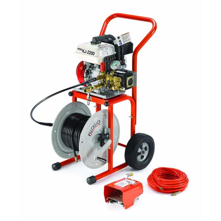 """Ridgid Stasatrice idropneumatica KJ-2200-C ad azione pulsante, pressione effettiva 150 bar, completa di utensili e accessori, carrello e tubo per pozzetto da 110"""" x 1/4"""" 63882"""