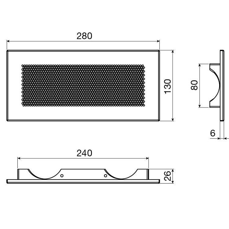 Irsap IR-GRAC2, griglia di immissione ed estrazione in acciaio, dimensioni foro 250 mm x100 mm, portata massima mc/h 60, RAL9003 VMITUCO0105