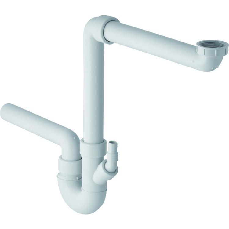 Geberit sifone a doppia camera per lavello, con portagomma a gomito, scarico orizzontale colore bianco 152.889.11.1