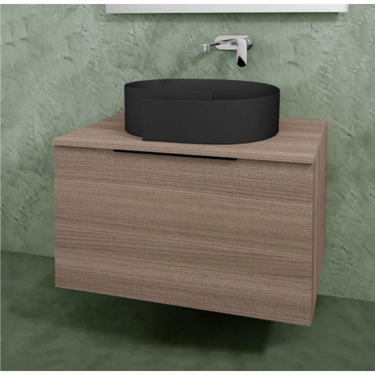 Flaminia BOX base portalavabo sospesa, 1 cassetto, L.85 P.50 H.50 cm, con top e foro per lavabo da appoggio, finitura oj canapa BX811+BXPR51OJC
