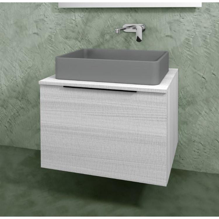 Flaminia BOX base portalavabo sospesa, 1 cassetto, L.70 P.50 H.50 cm, con top e foro per lavabo da appoggio, finitura oj bianco BX805+BXPR51OJB