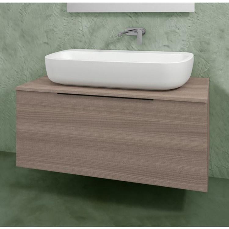 Flaminia BOX base portalavabo sospesa, 1 cassetto, L.120 P.50 H.50 cm, con top e foro per lavabo da appoggio, finitura oj canapa BX945+BXPR51OJC